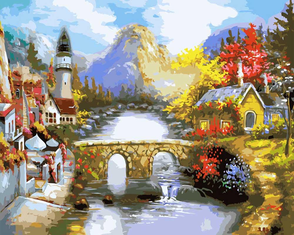 «Мост через реку»Картины по номерам Белоснежка<br><br><br>Артикул: 501-CG<br>Основа: Холст<br>Сложность: очень сложные<br>Размер: 40x50<br>Количество цветов: 42<br>Техника рисования: Без смешивания красок