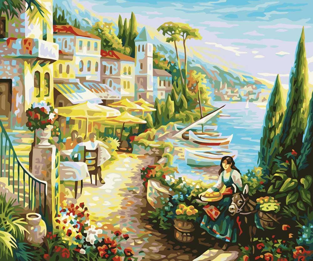 «Итальянский городок»Картины по номерам Белоснежка<br><br><br>Артикул: 528-CG<br>Основа: Холст<br>Сложность: сложные<br>Размер: 40x50 см<br>Количество цветов: 24<br>Техника рисования: Без смешивания красок