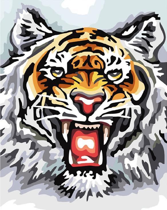Картина по номерам «Свирепый тигр»Картины по номерам Белоснежка<br><br><br>Артикул: 555-CG<br>Основа: Холст<br>Сложность: средние<br>Размер: 30x40 см<br>Количество цветов: 19<br>Техника рисования: Без смешивания красок