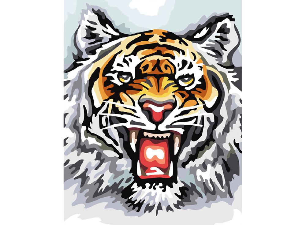«Свирепый тигр»Картины по номерам Белоснежка<br><br><br>Артикул: 555-CG<br>Основа: Холст<br>Сложность: средние<br>Размер: 30x40<br>Количество цветов: 19<br>Техника рисования: Без смешивания красок