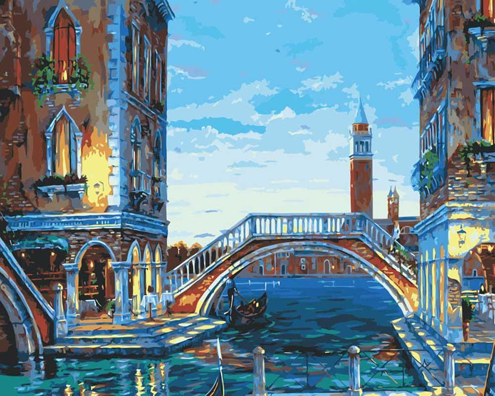 «Каналы Венеции»Картины по номерам Белоснежка<br><br><br>Артикул: 624-AB<br>Основа: Холст<br>Сложность: средние<br>Размер: 40x50 см<br>Количество цветов: 25<br>Техника рисования: Без смешивания красок