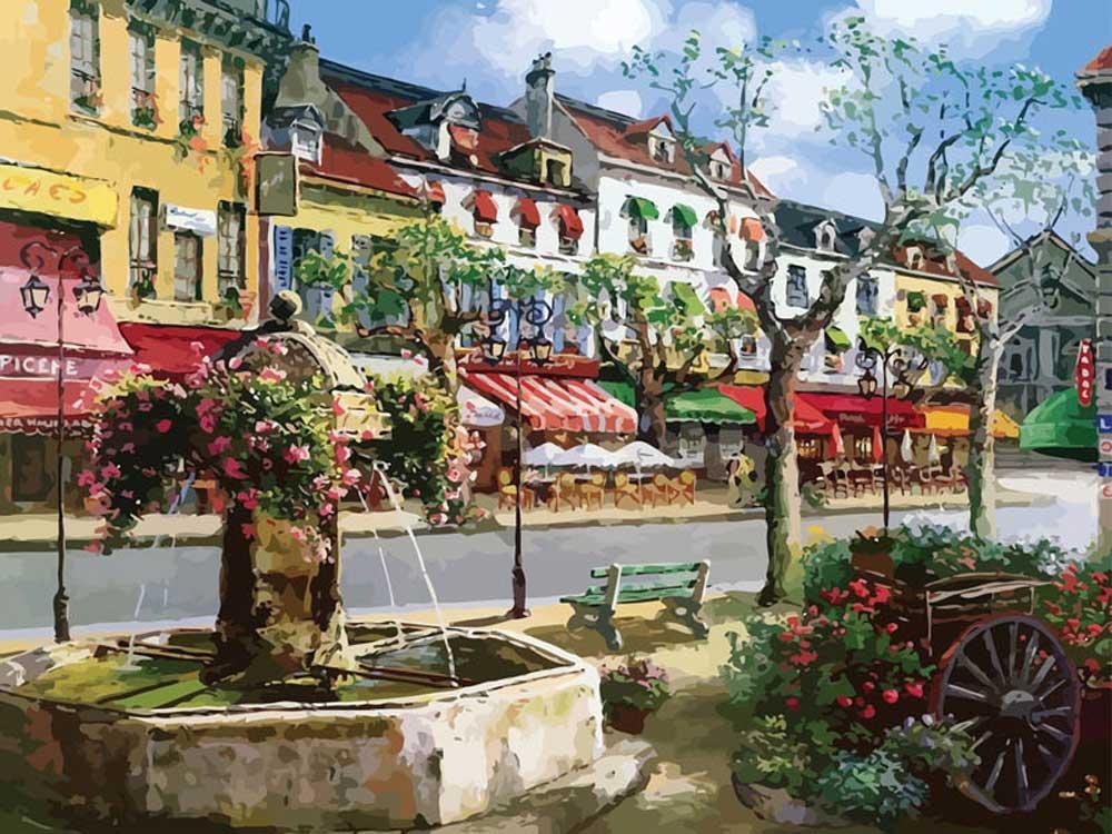 Картина по номерам «Европейский городок» Сунг Сэм ПаркаКартины по номерам Белоснежка<br><br><br>Артикул: 630-AB<br>Основа: Холст<br>Сложность: очень сложные<br>Размер: 40x50 см<br>Количество цветов: 35<br>Техника рисования: Без смешивания красок