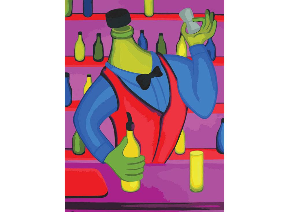 «Бармен» Романа ИсаеваКартины по номерам Белоснежка<br><br><br>Артикул: 715-AS<br>Основа: Холст<br>Сложность: средние<br>Размер: 30x40<br>Количество цветов: 21<br>Техника рисования: Без смешивания красок