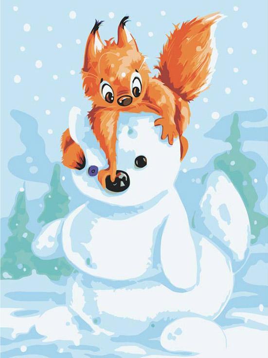 Картина по номерам «Белка и снеговик»Картины по номерам Белоснежка<br><br><br>Артикул: 733-AS<br>Основа: Холст<br>Сложность: легкие<br>Размер: 30x40 см<br>Количество цветов: 14<br>Техника рисования: Без смешивания красок