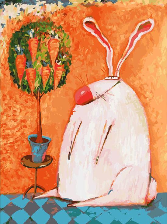 Картина по номерам «Счастливый кролик» Романа УрбинскогоКартины по номерам Белоснежка<br><br><br>Артикул: 753-AS<br>Основа: Холст<br>Сложность: очень сложные<br>Размер: 30x40 см<br>Количество цветов: 35<br>Техника рисования: Без смешивания красок