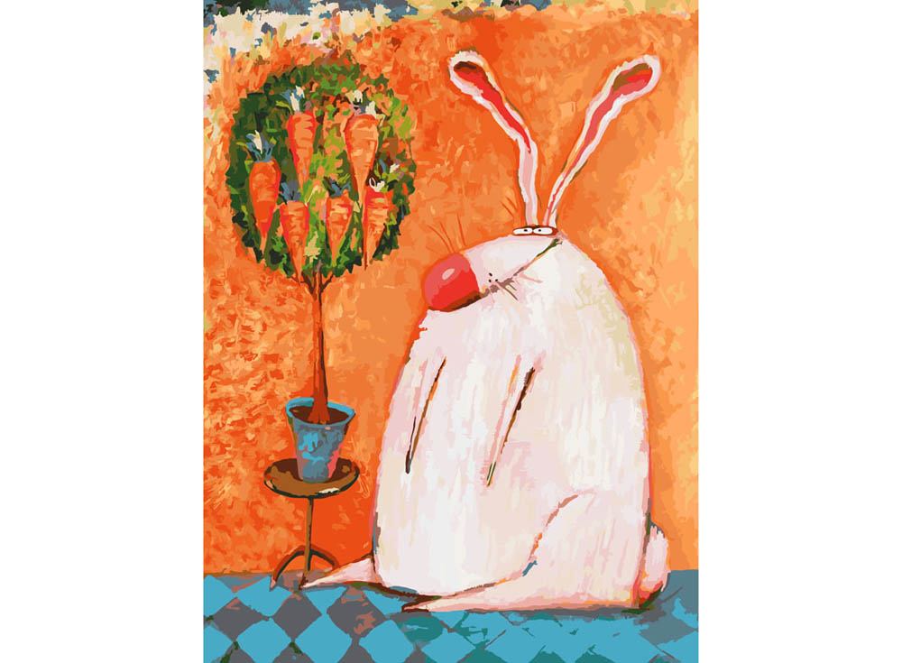 «Счастливый кролик» Романа УрбинскогоКартины по номерам Белоснежка<br><br><br>Артикул: 753-AS<br>Основа: Холст<br>Сложность: очень сложные<br>Размер: 30x40<br>Количество цветов: 35<br>Техника рисования: Без смешивания красок