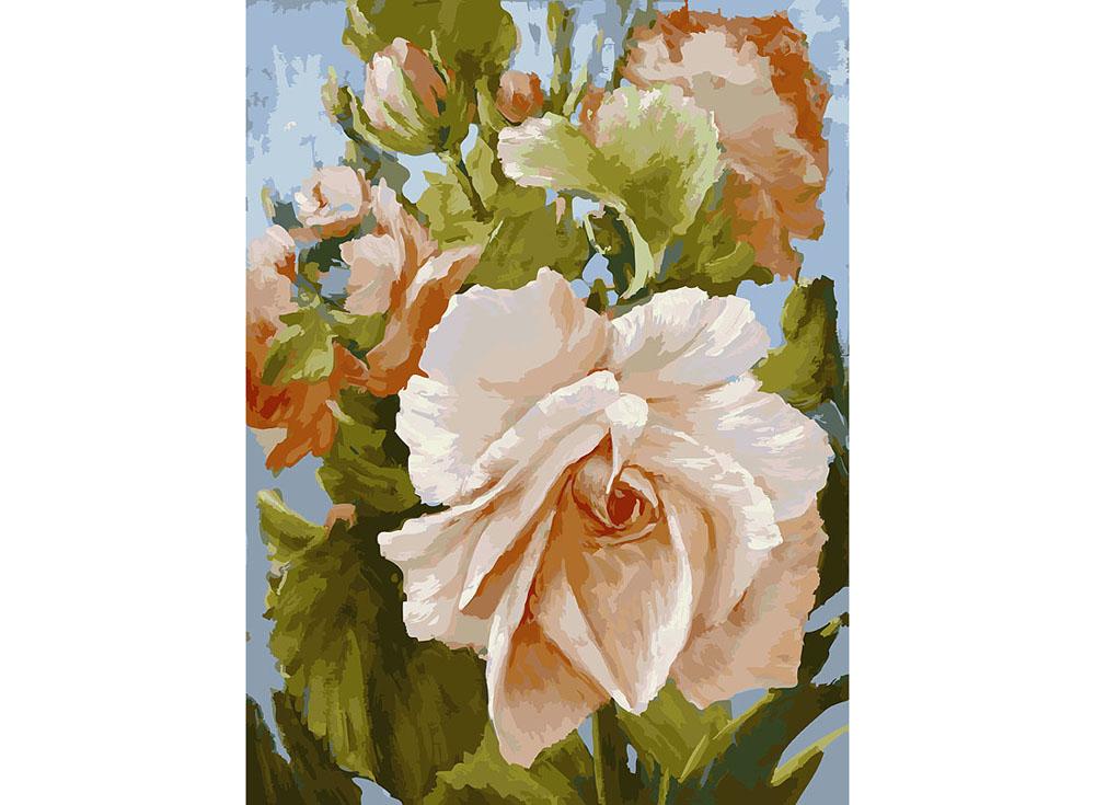 «Роза» Антона ГорцевичаКартины по номерам Белоснежка<br><br><br>Артикул: 781-AS<br>Основа: Холст<br>Сложность: очень сложные<br>Размер: 30x40<br>Количество цветов: 35<br>Техника рисования: Без смешивания красок
