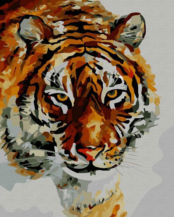 Картина по номерам «Тигр на снегу» Леонида АфремоваКартины по номерам Белоснежка<br><br><br>Артикул: 866-AB<br>Основа: Холст<br>Сложность: очень сложные<br>Размер: 40x50 см<br>Количество цветов: 40<br>Техника рисования: Без смешивания красок