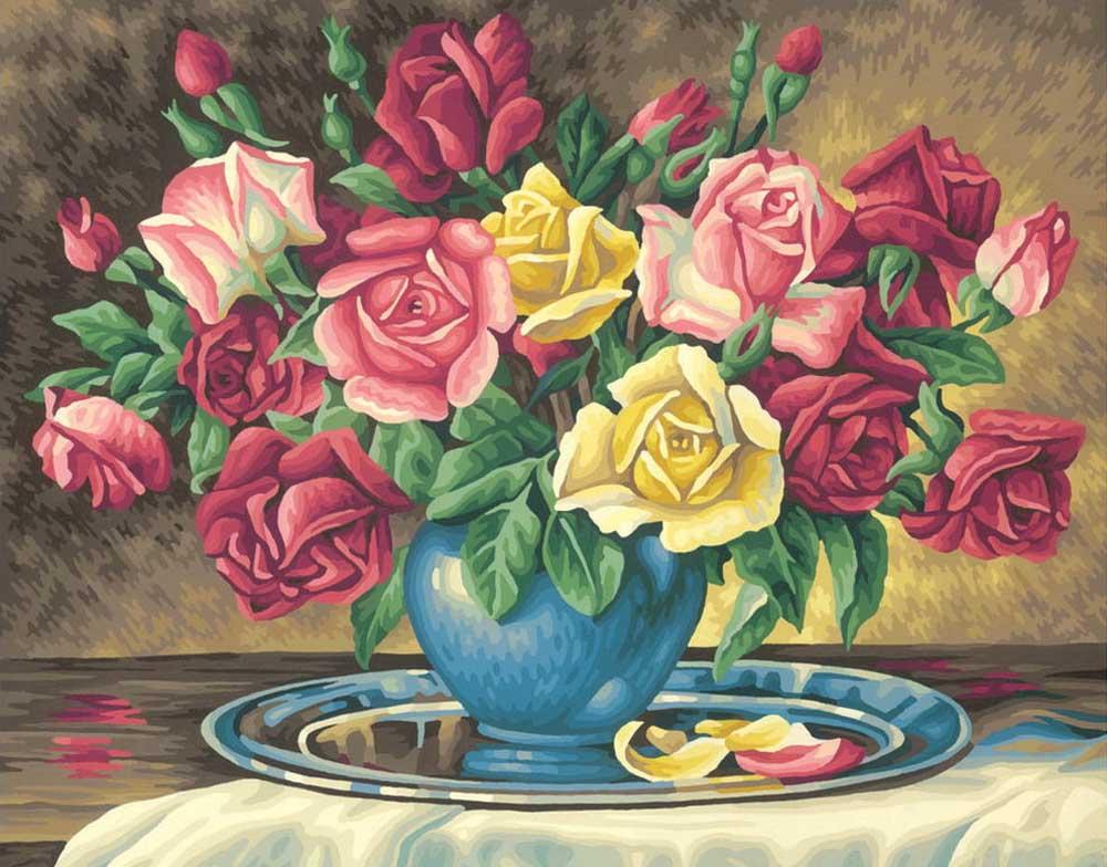 """«Букет роз»Schipper (Шиппер)<br>Производитель наборов картин по номерам """"Schipper"""" - это исключительное качество всех составляющих. Особенностью этого бренда является то, что основа картины - высококачественный картон, покрытие которого имитирует натуральный холст. Краски """"Schipper"""" обл...<br><br>Артикул: 9130350<br>Основа: Картон<br>Сложность: сложные<br>Размер: 40x50 см<br>Количество цветов: 36<br>Техника рисования: Без смешивания красок"""