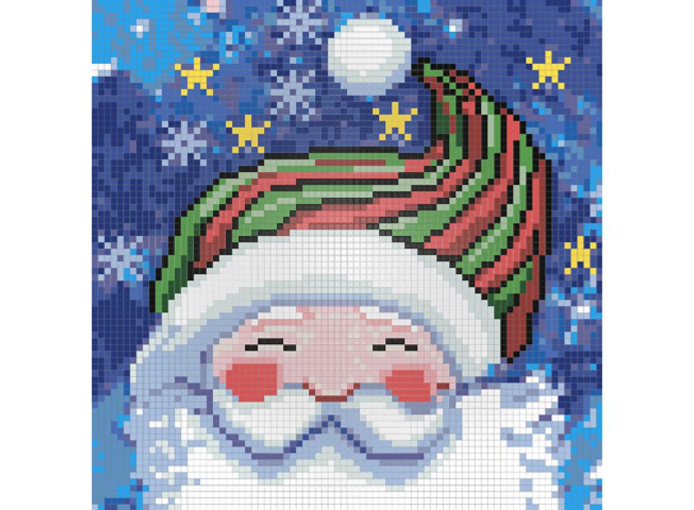 Стразы «Портрет Деда Мороза»Алмазная вышивка Гранни<br><br><br>Артикул: АЖ-1259<br>Основа: Холст без подрамника<br>Сложность: средние<br>Размер: 20x20<br>Выкладка: Полная<br>Количество цветов: 21<br>Тип страз: Квадратные