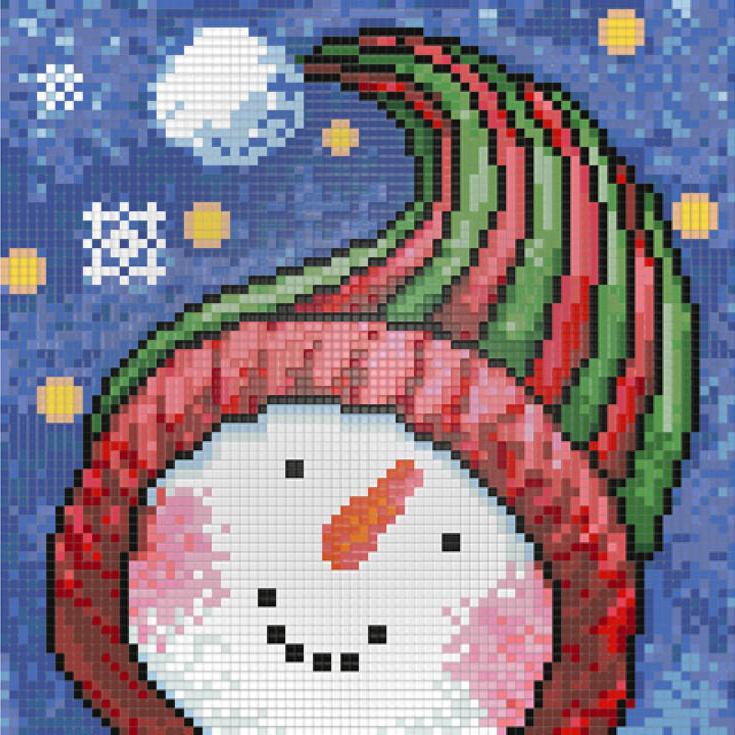 Алмазная вышивка «Портрет снеговика»Алмазная Живопись<br><br><br>Артикул: АЖ-1262<br>Основа: Холст без подрамника<br>Сложность: средние<br>Размер: 20x20 см<br>Выкладка: Полная<br>Количество цветов: 28<br>Тип страз: Квадратные