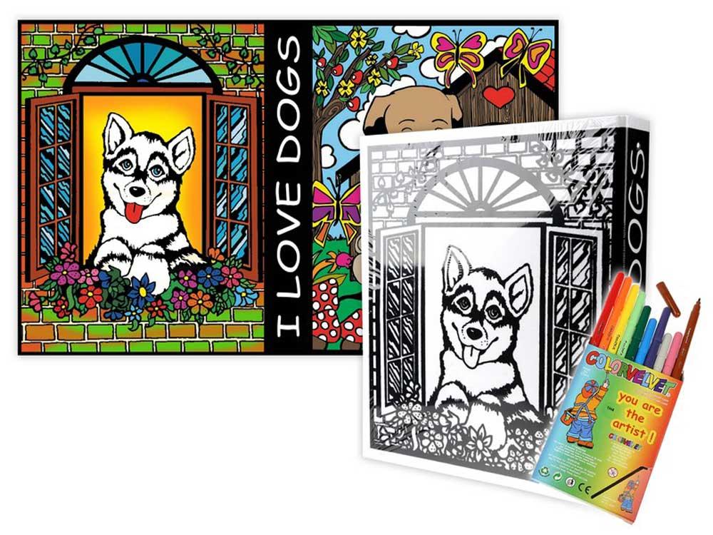 Папка-раскраска «Собачки» + 10 маркеровБархатные(вельветовые) раскраски<br><br><br>Артикул: C13<br>Размер: 27x37x4 см