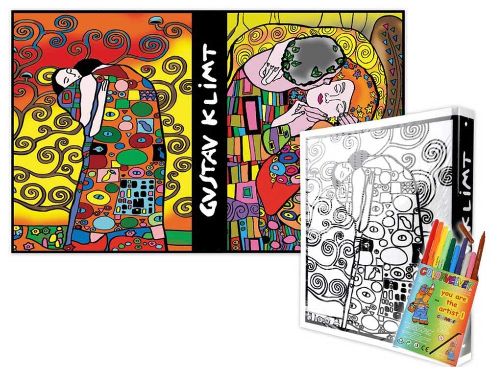 Папка-раскраска «Климт» + 10 маркеровБархатные(вельветовые) раскраски<br><br><br>Артикул: C15<br>Размер: 27x37x4 см