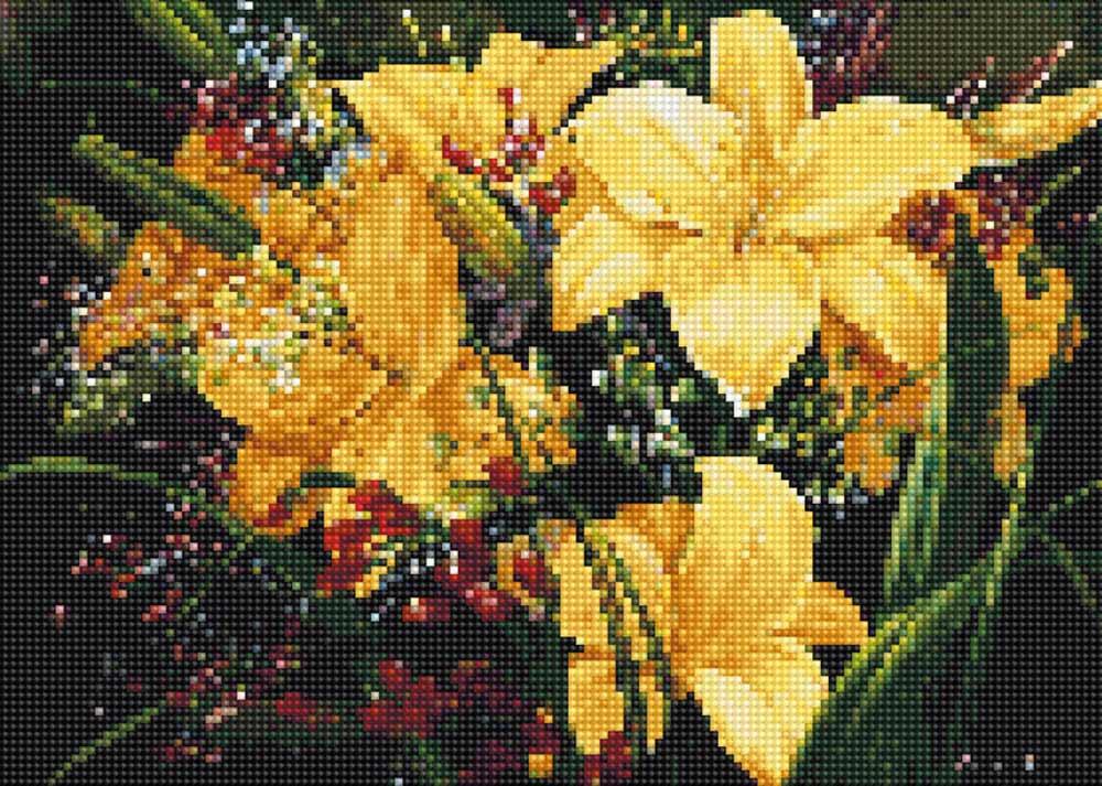 Алмазная вышивка «Желтые лилии»Цветной<br>Обновленная серия алмазной мозаики от бренда Цветной - это яркие популярные сюжеты и расширенная комплектация качественными составляющими. <br><br><br>Особенности алмазной вышивки от Цветной:<br><br>тканевый холст имеет ярко выраженную приятную на ощупь бархатисту...<br><br>Артикул: C608<br>Основа: Холст на подрамнике<br>Сложность: средние<br>Размер: 30x40 см<br>Выкладка: Полная<br>Количество цветов: 20-35<br>Тип страз: Круглые непрозрачные (акриловые)