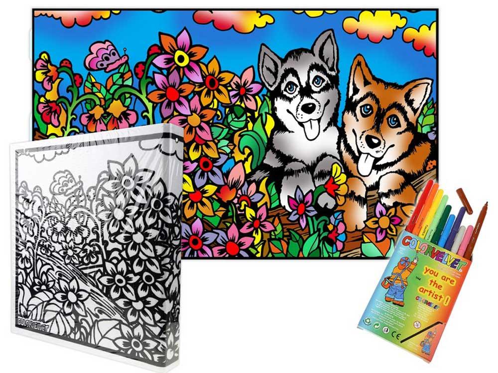 Папка-раскраска «Собаки» + 10 маркеровБархатные(вельветовые) раскраски<br><br><br>Артикул: C6<br>Размер: 27x37x4 см
