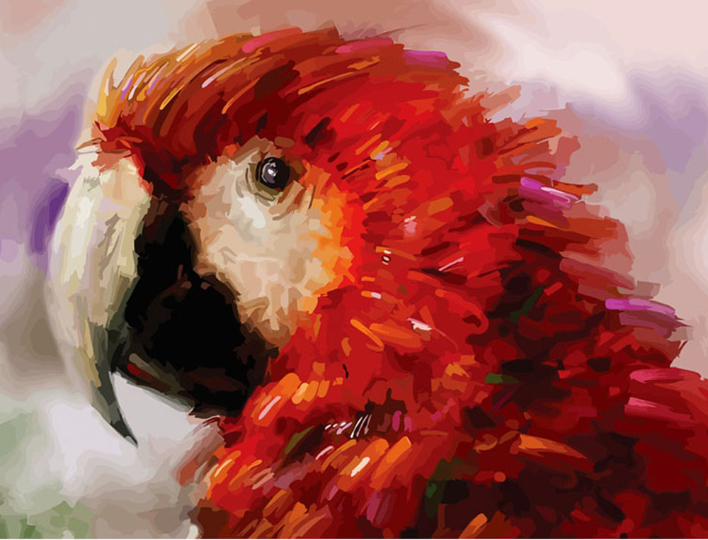 «Попугай»Цветной (Standart)<br><br><br>Артикул: GX8214_Z<br>Основа: Холст<br>Сложность: сложные<br>Размер: 40x50 см<br>Количество цветов: 25<br>Техника рисования: Без смешивания красок