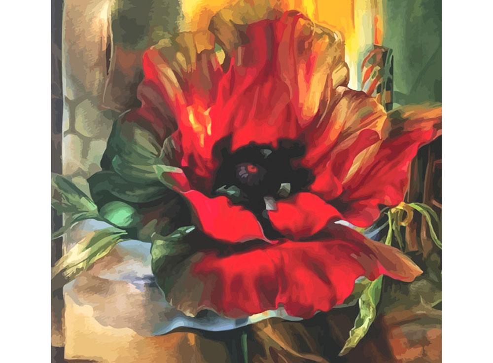 Картина по номерам «Красный мак»Раскраски по номерам Color Kit<br><br><br>Артикул: CF004<br>Основа: Холст<br>Сложность: сложные<br>Размер: 40x40 см<br>Количество цветов: 24<br>Техника рисования: Без смешивания красок