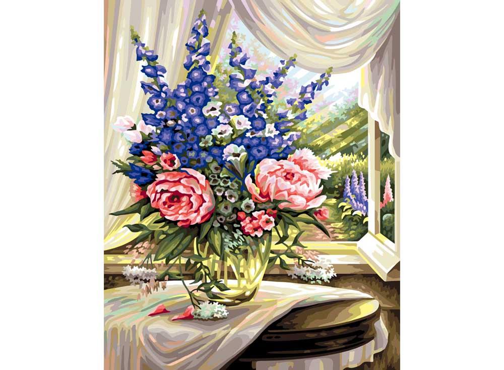 Картина по номерам «Цветы на столе»Раскраски по номерам Color Kit<br><br><br>Артикул: CG114<br>Основа: Холст<br>Сложность: сложные<br>Размер: 40x50 см<br>Количество цветов: 25<br>Техника рисования: Без смешивания красок