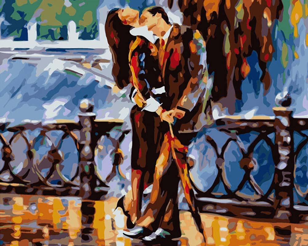 «Поцелуй после дождя» Леонида АфремоваРаскраски по номерам Color Kit<br><br><br>Артикул: CG609<br>Основа: Холст<br>Сложность: средние<br>Размер: 40x50 см<br>Количество цветов: 24<br>Техника рисования: Без смешивания красок