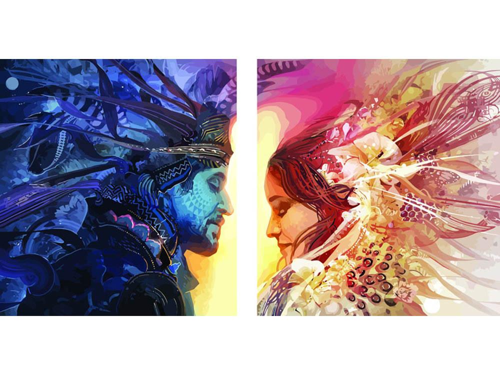 Картина по номерам «День и Ночь»Раскраски по номерам Color Kit<br><br><br>Артикул: CU2003<br>Основа: Холст<br>Сложность: средние<br>Размер: 2 шт. 50х50 см<br>Количество цветов: 40<br>Техника рисования: Без смешивания красок
