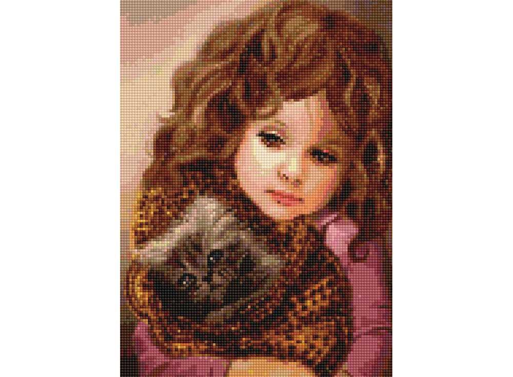 Алмазная вышивка «Девочка с котенком»Цветной<br>Обновленная серия алмазной мозаики от бренда Цветной - это яркие популярные сюжеты и расширенная комплектация качественными составляющими. <br><br><br>Особенности алмазной вышивки от Цветной:<br><br>тканевый холст имеет ярко выраженную приятную на ощупь бархатисту...<br><br>Артикул: D614<br>Основа: Холст на подрамнике<br>Сложность: сложные<br>Размер: 30x40 см<br>Выкладка: Полная<br>Количество цветов: 20-35<br>Тип страз: Круглые непрозрачные (акриловые)