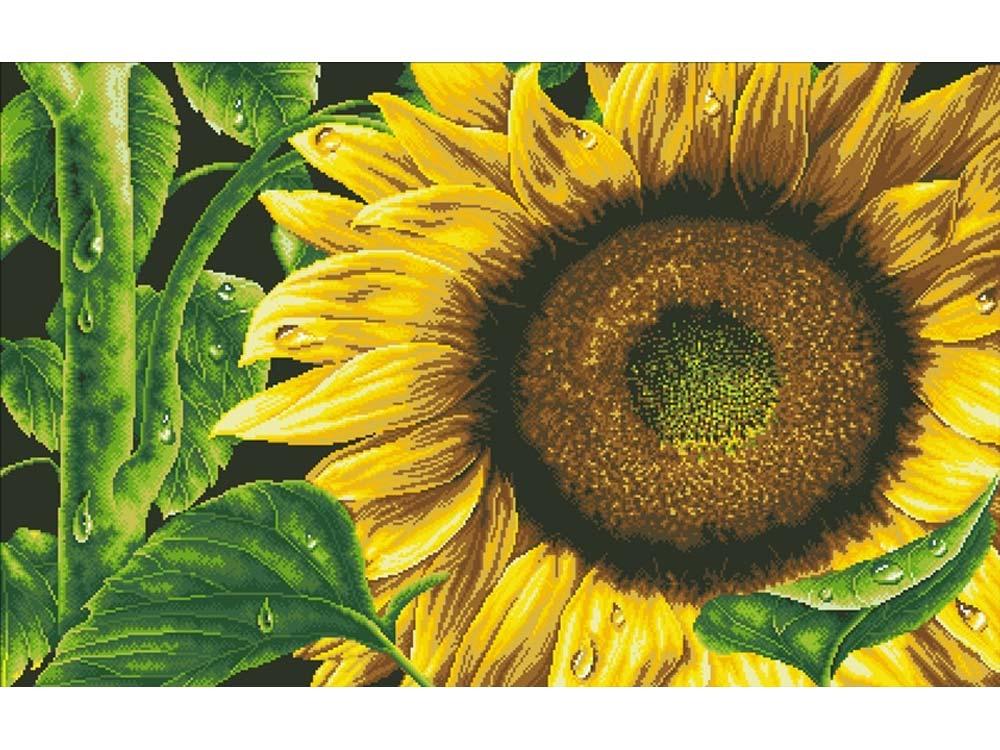 Стразы «Цветок солнца»Яркие Грани<br><br><br>Артикул: DS301<br>Основа: Холст без подрамника<br>Сложность: средние<br>Размер: 100x63 см<br>Выкладка: Полна<br>Количество цветов: 19<br>Тип страз: Квадратные
