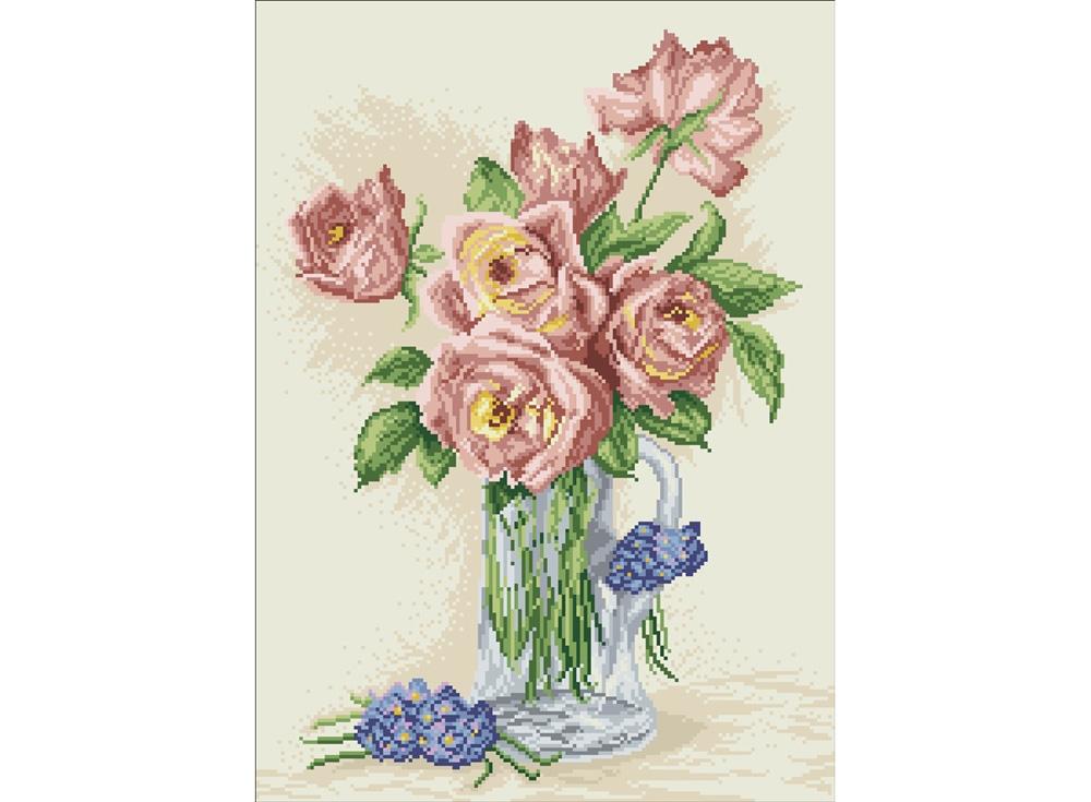 Алмазная вышивка «Розы в кувшине»Яркие Грани<br><br><br>Артикул: DS305<br>Основа: Холст без подрамника<br>Сложность: средние<br>Размер: 40x55 см<br>Выкладка: Полная<br>Количество цветов: 23<br>Тип страз: Квадратные
