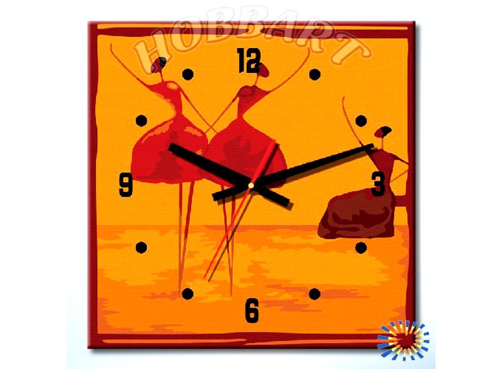 Раскраска-часы «Балеринки»Часы-раскраски по номерам<br><br><br>Артикул: dz4040003<br>Основа: Холст<br>Сложность: легкие<br>Размер: 40x40 см<br>Количество цветов: 10