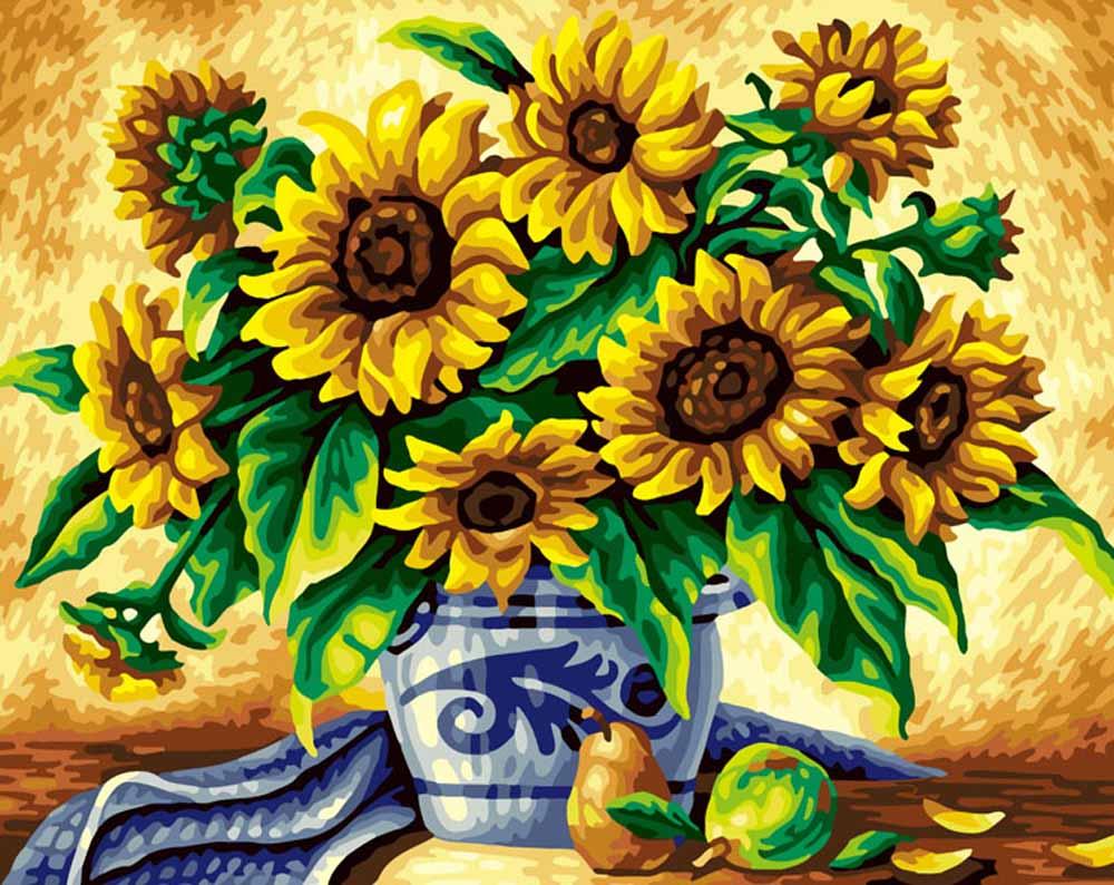 «Подсолнухи»Раскраски по номерам Color Kit<br><br><br>Артикул: G242<br>Основа: Холст<br>Сложность: сложные<br>Размер: 40x50 см<br>Количество цветов: 25<br>Техника рисования: Без смешивания красок