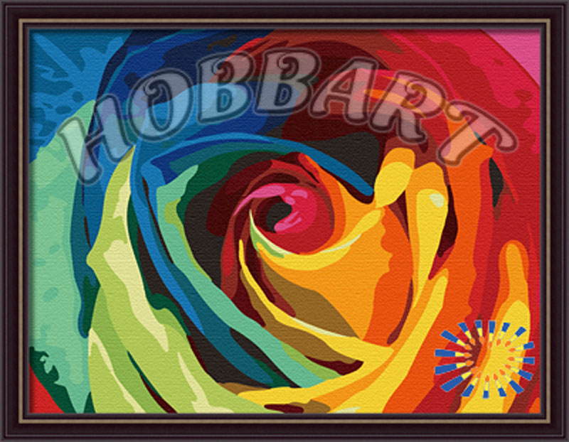 «Роза из радуги»Hobbart<br><br><br>Артикул: HB3040007<br>Основа: Холст<br>Сложность: средние<br>Размер: 30x40 см<br>Количество цветов: 23<br>Техника рисования: Без смешивания красок