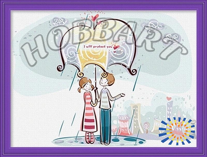 Картина по номерам «Вдвоем под зонтиком»Hobbart<br><br><br>Артикул: HB3040010<br>Основа: Холст<br>Сложность: средние<br>Размер: 30x40 см<br>Количество цветов: 23<br>Техника рисования: Без смешивания красок