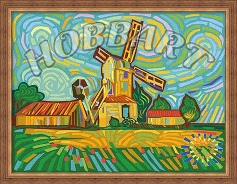 «Разноцветная мельница»Hobbart<br><br><br>Артикул: HB3040037<br>Основа: Холст<br>Сложность: средние<br>Размер: 30x40 см<br>Количество цветов: 25<br>Техника рисования: Без смешивания красок