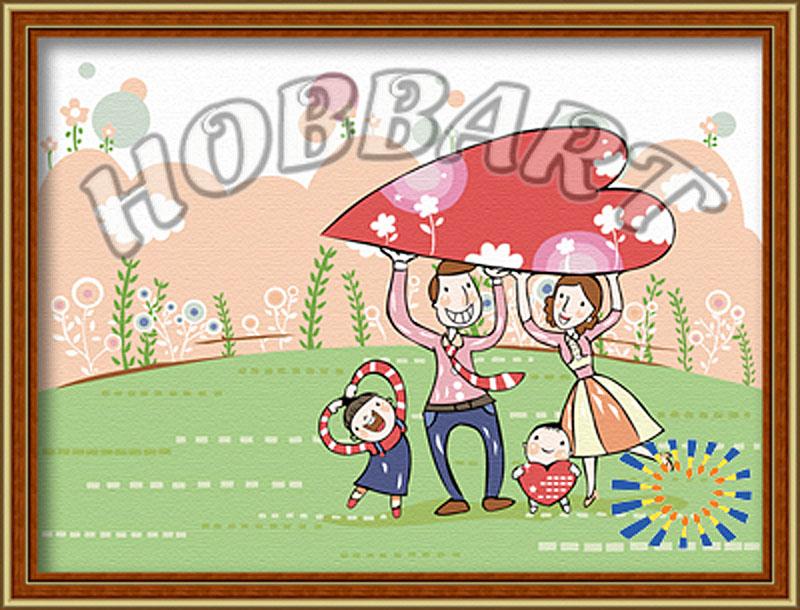 Картина по номерам «Семья»Hobbart<br><br><br>Артикул: HB3040042<br>Основа: Холст<br>Сложность: средние<br>Размер: 30x40 см<br>Количество цветов: 21<br>Техника рисования: Без смешивания красок