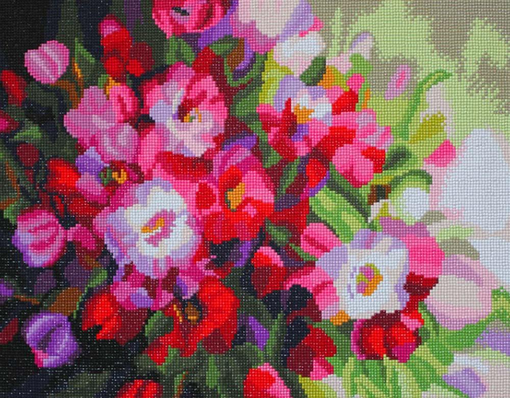 Стразы «Алмазные цветы»Алмазная вышивка Color Kit (Колор Кит)<br><br><br>Артикул: MO029<br>Основа: Холст без подрамника<br>Сложность: средние<br>Размер: 40x50 см<br>Выкладка: Полная<br>Количество цветов: 34<br>Тип страз: Круглые непрозрачные (акриловые)