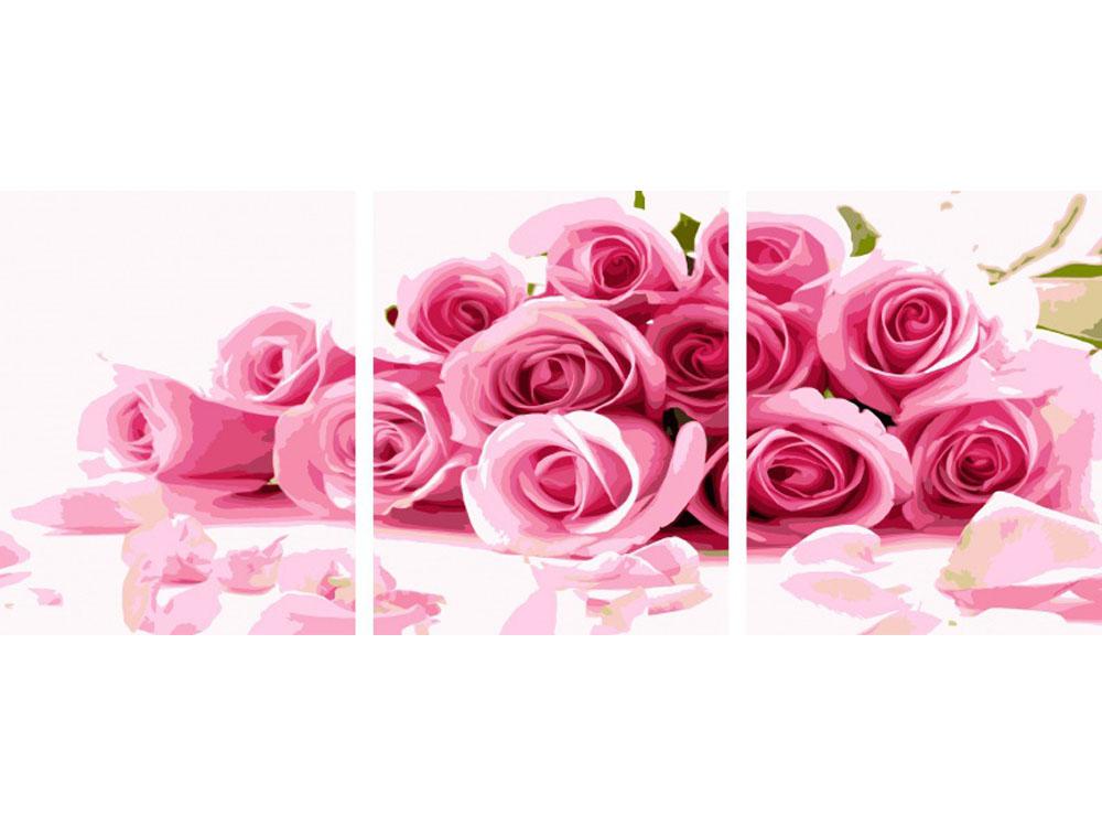 Картина по номерам «Россыпь из розовых роз»Раскраски по номерам Color Kit<br><br><br>Артикул: P024<br>Основа: Холст<br>Сложность: сложные<br>Размер: 3 шт. 40х50 см<br>Количество цветов: 25<br>Техника рисования: Без смешивания красок