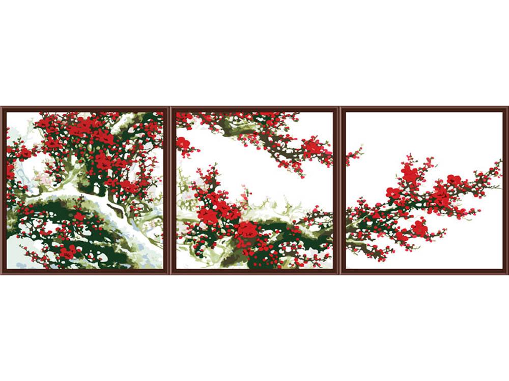 Картина по номерам «Цветущая слива в снегу»Раскраски по номерам Color Kit<br><br><br>Артикул: P045<br>Основа: Холст<br>Сложность: сложные<br>Размер: 3 шт. 50x50 см<br>Количество цветов: 25<br>Техника рисования: Без смешивания красок