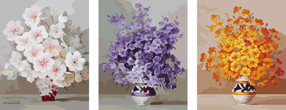 Раскраска по номерам цветы триптих