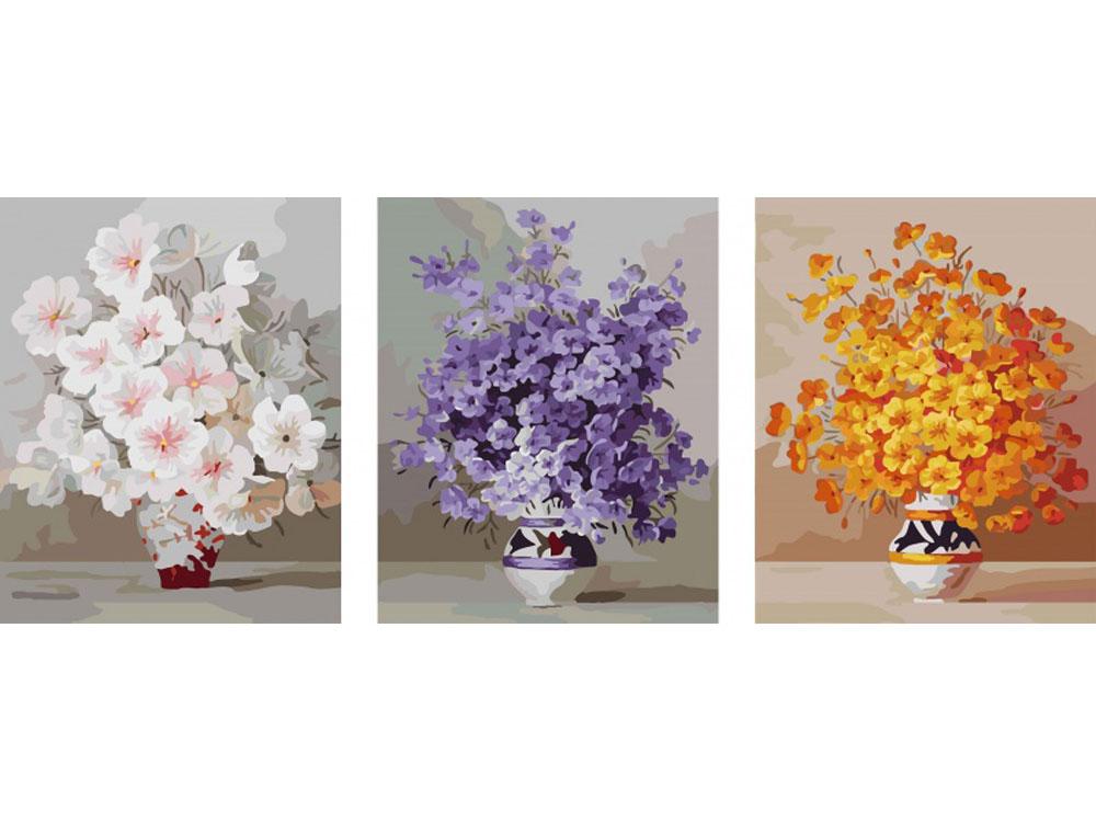 Картина по номерам «Цветы в вазах»Раскраски по номерам Color Kit<br><br><br>Артикул: P080<br>Основа: Холст<br>Сложность: сложные<br>Размер: 3 шт. 40x50 см<br>Количество цветов: 25<br>Техника рисования: Без смешивания красок