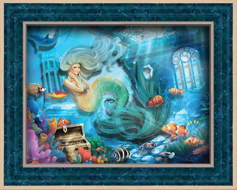 """Объемная картина «Тайны морских глубин»Объемные картины Vizzle (Виззл)<br>Объемная картина Vizzle - хобби-набор для творческого досуга в любом возрасте. Комплектация набора предусматривает все, что необходимо для получения полностью завершенной картины:<br><br>- высококачественный картон с уже """"вырубленными"""" деталями (их нужно просто...<br><br>Артикул: С0164<br>Основа: Картон<br>Размер: 29,5x35,8 см"""