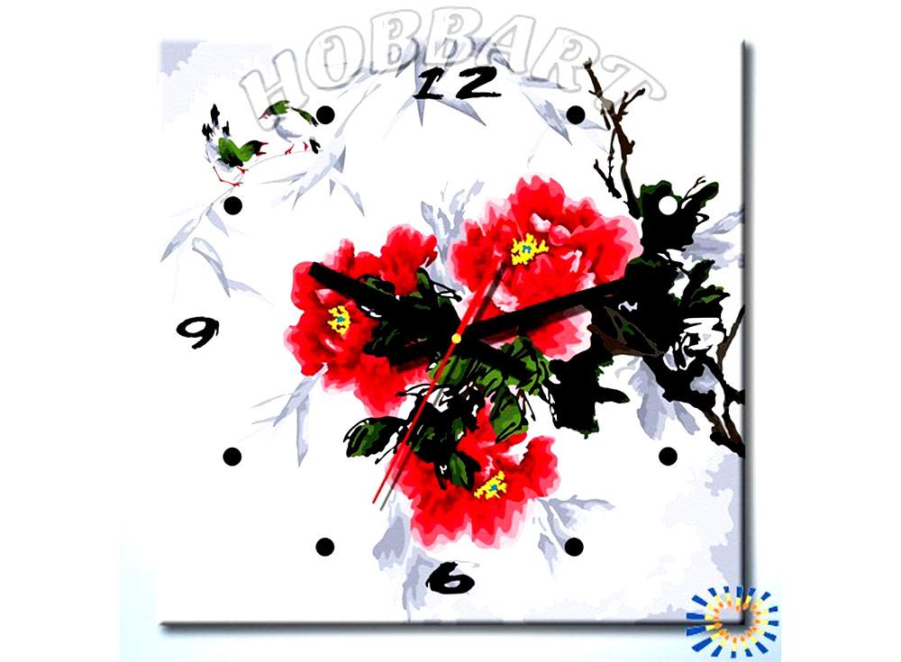 Раскраска-часы «Время цвести»Часы-раскраски по номерам<br><br><br>Артикул: sh4040003<br>Основа: Холст<br>Сложность: средние<br>Размер: 40x40<br>Количество цветов: 23