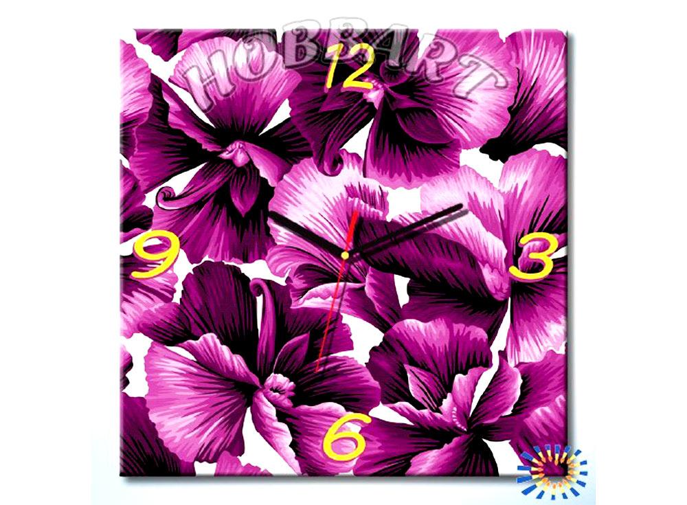 Раскраска-часы «Фиолетовое очарование»Часы-раскраски по номерам<br><br><br>Артикул: SH4040005<br>Основа: Холст<br>Размер: 40x40 см