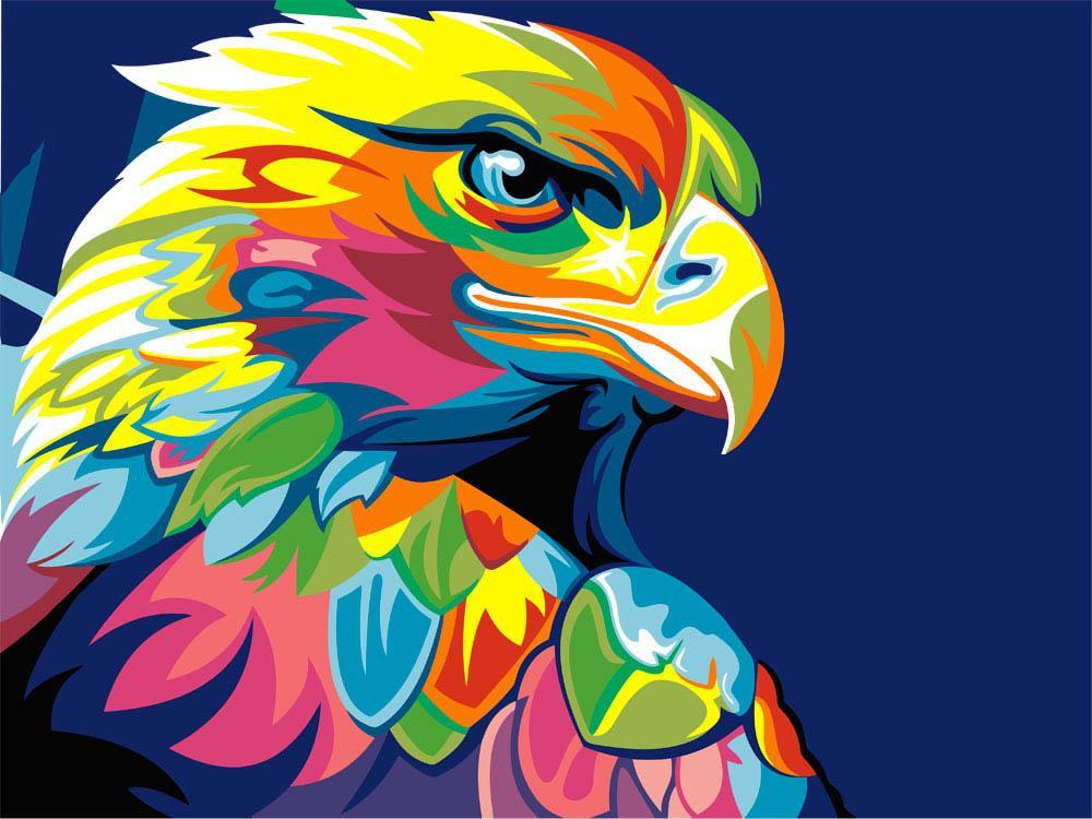 Стразы «Радужный орел» Ваю РомдониАлмазная вышивка Гранни<br><br><br>Артикул: AG480<br>Основа: Холст без подрамника<br>Сложность: средние<br>Размер: 27x38<br>Выкладка: Полная<br>Количество цветов: 29<br>Тип страз: Квадратные