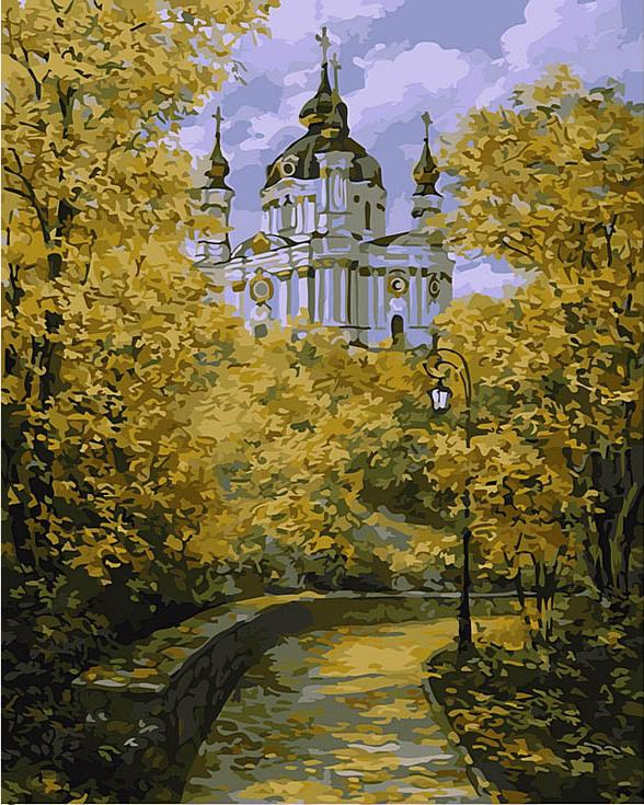 Картина по номерам «Вид на Андреевскую церковь» Дмитрия ШкляраЦветной (Standart)<br><br>