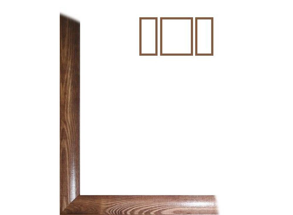 Рамка без стекла для триптиха «Berta»Багетные рамки<br>Для картин на картоне. <br> <br>В комплект входит: рамка, задняя подложка, и крючок-вешалка. Стекло в комплект не входит. При необходимости приобретайте стекло отдельно.<br><br>Артикул: 0006-62-0006<br>Размер: 40x100 (1 рамка - 50x40см; 2 рамки - 25x40см)<br>Цвет: Орех<br>Ширина: 26<br>Материал багета: Дерево