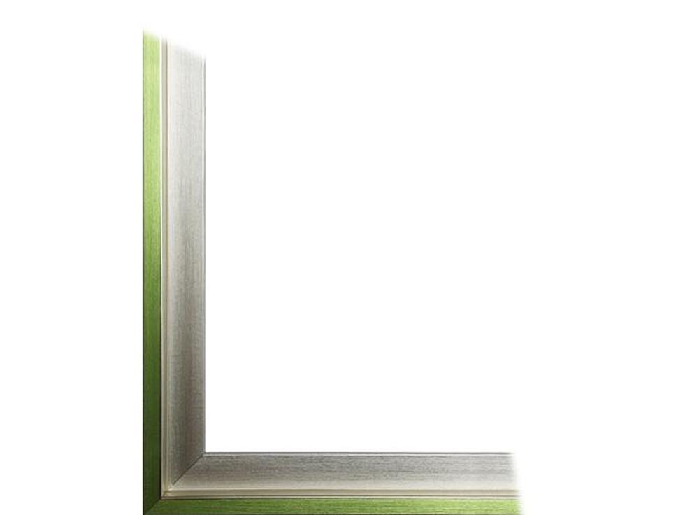 Рамка без стекла для картин «Alisa»Багетные рамки<br>Для картин на картоне. В комплект входит: рамка, задняя подложка, крючок-вешалка. Стекло в комплект не входит. При необходимости приобретайте стекло отдельно.<br><br>Артикул: 0060-50-3156<br>Размер: 50x70 см<br>Цвет: Серебро и зеленый<br>Ширина: 30<br>Материал багета: Пластик