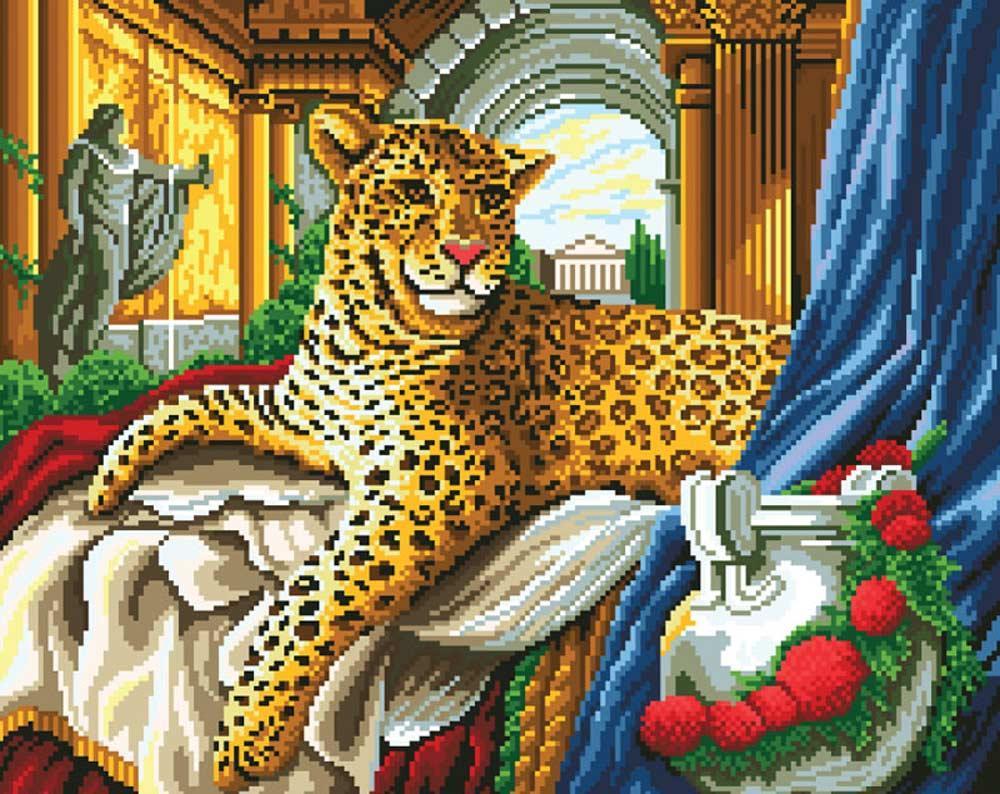 Алмазная вышивка «Римский леопард»
