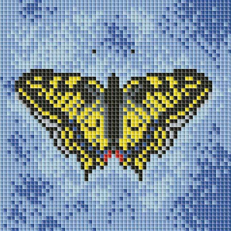 Стразы «Бабочка на синем»Алмазная вышивка фирмы Белоснежка<br><br><br>Артикул: 098-ST<br>Основа: Холст без подрамника<br>Сложность: сложные<br>Размер: 15x15 см<br>Выкладка: Полная<br>Количество цветов: 8<br>Тип страз: Квадратные
