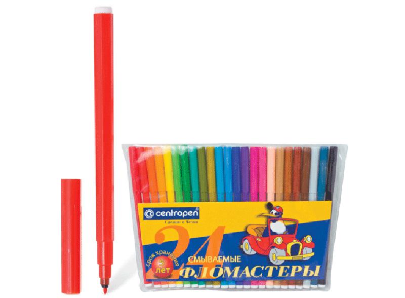 Фломастеры (24 цвета)Аксессуары для книг-раскрасок<br>Фломастеры CENTROPEN (24 цвета) - отлично подходят для раскрашивания, ширина линии письма - 1,8 мм. Снабжены износоустойчивым пишущим узлом и вентилируемым колпачком. Гарантия от высыхания - 3 года.<br><br>Артикул: 150058