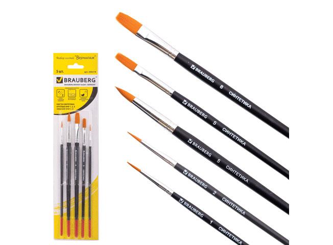 Кисти (набор 5 шт. — круглые и плоские)Аксессуары для рисования картин по номерам<br>Набор из 5 кистей:<br> - круглые - № 1, 2, 5; <br> - плоские - № 5, 8.<br> Ворс - высококачественное синтетическое волокно.<br> Упаковка - блистер с европодвесом.<br><br>Артикул: 200219
