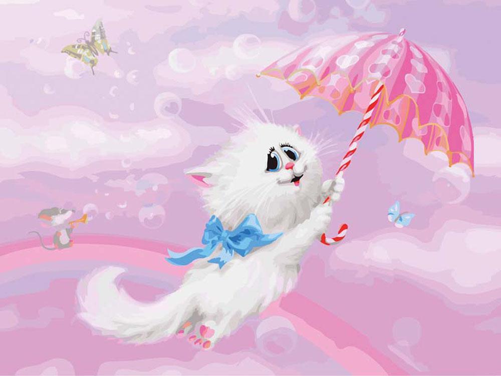Картина по номерам «Белая кошечка» Алексея ДолотоваКартины по номерам Белоснежка<br><br><br>Артикул: 3000-CS<br>Основа: Картон<br>Сложность: очень сложные<br>Размер: 30x40 см<br>Количество цветов: 35<br>Техника рисования: Без смешивания красок